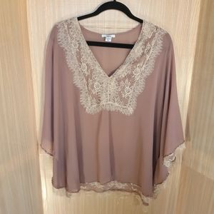 Bar III sheer poncho with lace & sequins detail